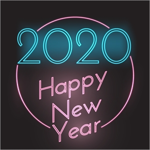 Happy New Year neon style Logo Vector