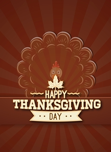 happy thanksgiving day retro poster Logo Vector