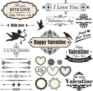 happy valentine day vintage Logo Vector