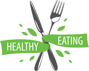 Healthy Eating Fork and Knife Logo Vector