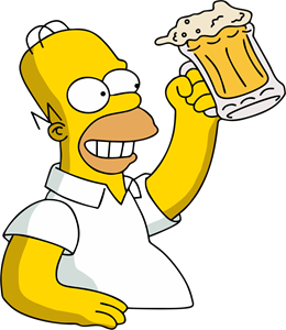 Homer Simpson Holding beer Duff Logo Vector
