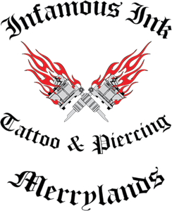Infamous ink tattoo & piercing Logo Vector