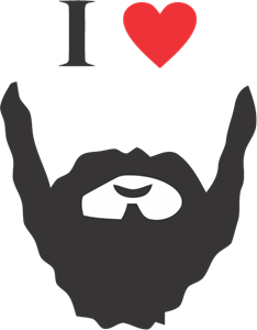 I Love Bearded Man Logo Vector