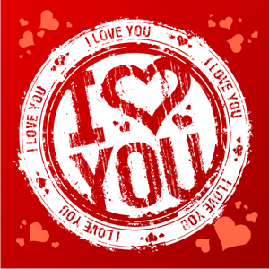 i love you grunge style valentine day stamp Logo Vector