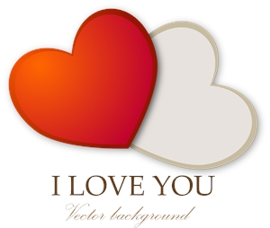 i love you two heart valentine Logo Vector