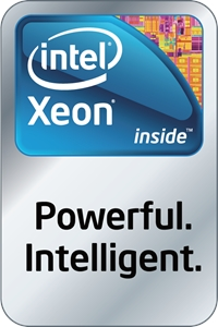 Intel Xeon inside Powerful Intelligent Logo Vector