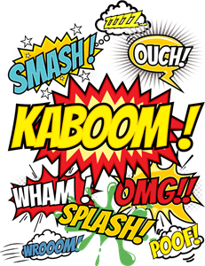 Kaboom, Smash, Splash, Ouch, Wham, Omg, Poof Logo Vector