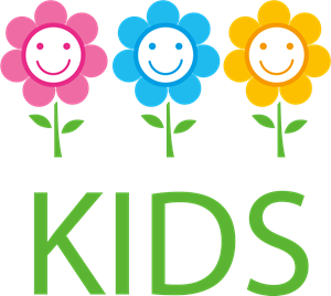 Kids in the Flowers Logo Vector