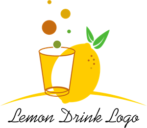 Lemon Drinks Food Glass Logo Vector