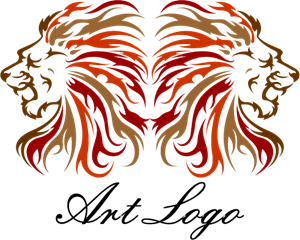 Lion Head Art Logo Vector