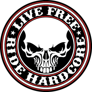 Live Free Ride Hardcore Logo Vector