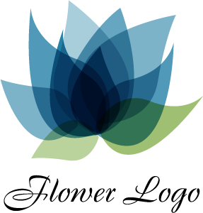 Lotus Flower Blue Fashion Logo Vector