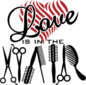 Love is in the Hair Logo Vector