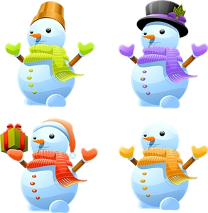 lovely christmas snowman Logo Vector