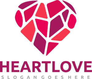 Low poly heart Logo Vector