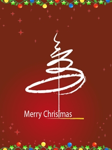 merry christmas calligraphic stroke x mas card Logo Vector