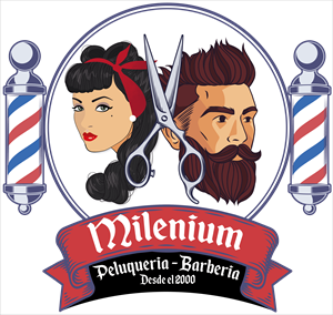 Milenium Barber Shop Logo Vector