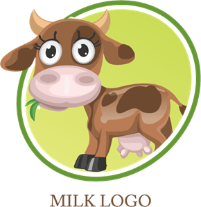Milk Cow Drink Logo Vector