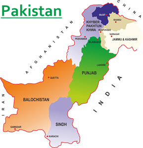 New Map of Paksitan Logo Vector