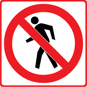 NO PEDESTRIANS ROAD SIGN Logo Vector