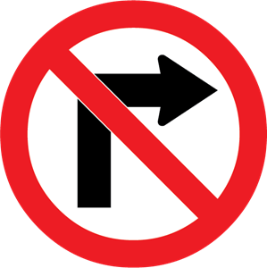 NO RIGHT TURN SIGN Logo Vector