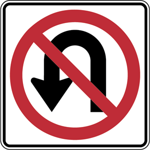 NO U TURN SIGN Logo Vector