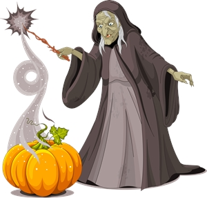 old lady witch pumpkin doing magician Logo Vector
