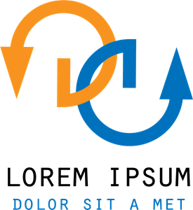 Orange and Blue Arrow Shape Logo Vector