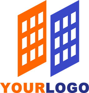Orange and Blue Building Logo Vector