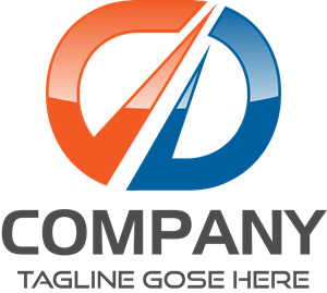 Orange and Blue Company Shape Logo Vector
