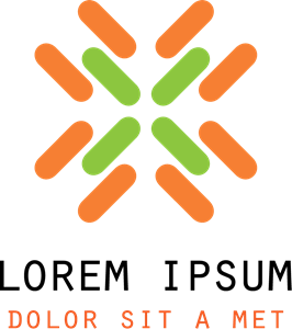 Orange and Green Color Abstract Shape Logo Vector