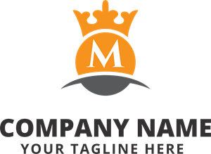 Orange background with a crown Logo Vector