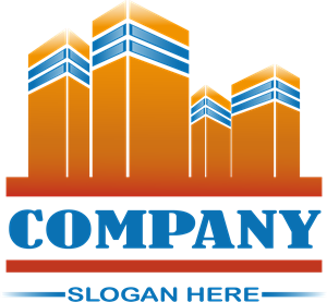 Orange Building Real Estate Company Logo Vector