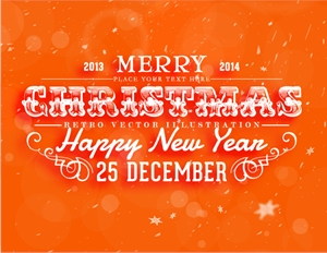 orange christmas new year poster Logo Vector