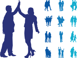 People In Couples Silhouettes Graphics Logo Vector