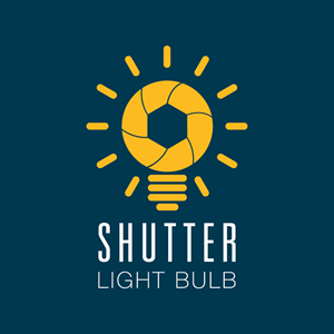 Photography shutter lightbulb Logo Vector