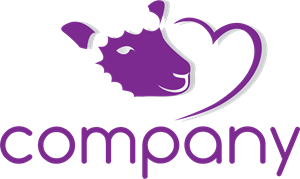 Purple Cow Heart Company Logo Vector