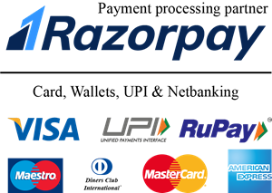 Razorpay with all cards & UPI Logo Vector