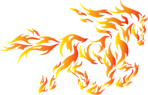 Red fire horse Logo Vector