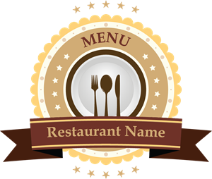 Restaurant Brand Ribbon Logo Vector