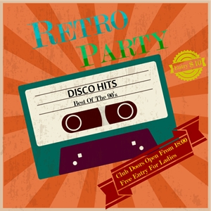 retro party poster vintage tape Logo Vector