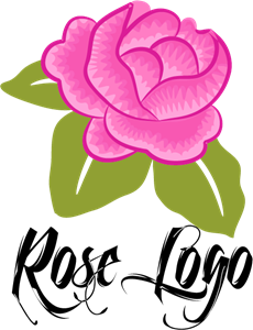 Rose Flower Pink Logo Vector