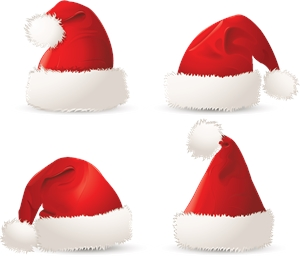 Santa Hat Christmas Logo Vector