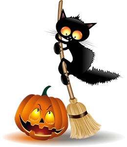 scarcy black cat halloween pumpkin Logo Vector