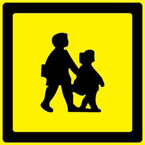 School Bus Warning Sign (UK) Logo Vector
