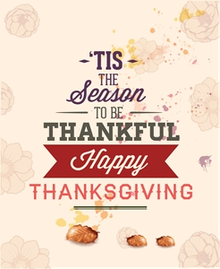 season to be thankful happy thanksgiving poster Logo Vector