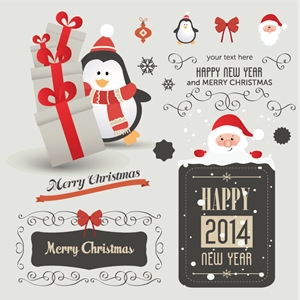 set christmas vintage elements Logo Vector