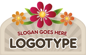 Sign with Flowers Logo Vector