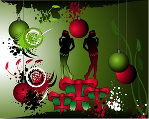 silhouette christmas girl green grunge christmas Logo Vector