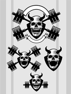 Skull Gym Logo Vector